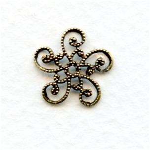 Victorian Style Flat Filigree Bead Caps Oxidized Brass (12)
