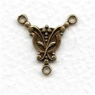 Small Elegant 3 Loop Connectors 17x17mm Oxidized Brass (6)