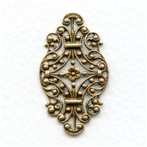 Victorian Style Filigree Oxidized Brass 33mm (6)