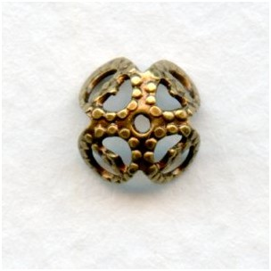 Squared Filigree Bead Caps 9mm Oxidized Brass (50)