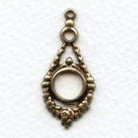 Louis XIV Style Oxidized Brass Pendant Drops (6)