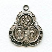 Saint Medal Oxidized Silver Land Air Sea 30mm (1)