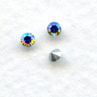Round Crystal AB Foiled Rhinestones Pointed Back 18pp