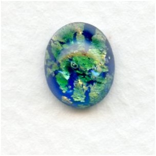 Green Glass Opal Cabochon Handmade 14x10mm (1)