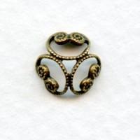 Round Filigree Three Petal Bead Cap Oxidized Brass 8mm (12)
