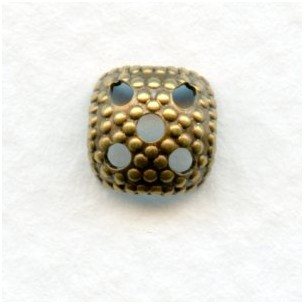 Most Popular Square 7mm Bead Cap Oxidized Brass (24)