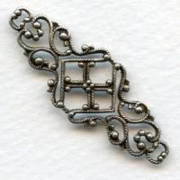 Feminine Filigree Ornate Connector 45mm Oxidized Silver (6)