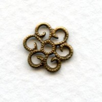 Round Filigree Flat 10mm Oxidized Brass Stampings (12)