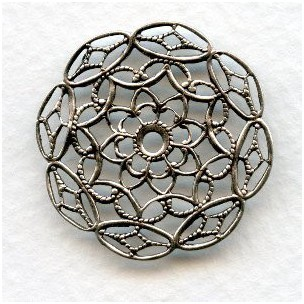Filigree 28mm Round Stampings Oxidized Silver (6)