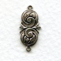 Swirl Detail Connectors Oxidized Silver (12)