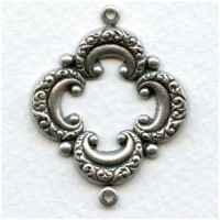 Open Quatrefoil Connector Oxidized Silver 39mm (6)