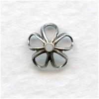 Retro Flower Power Bead Caps 7.5mm Oxidized Silver (24)