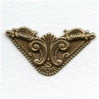 Ornate Corner Flourish Oxidized Brass Stampings (4)