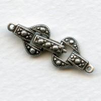 Decorative Single Strand Foldover Clasp Oxidized Silver (1)