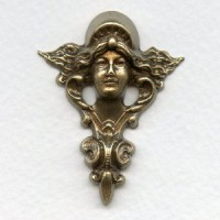 Art Nouveau Mucha Inspired Stamping Oxidized Brass