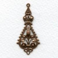 Filigree Pendant Drops 43mm Oxidized Copper (6)