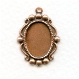Ornate Pendant Settings 14x10mm Oxidized Copper (12)