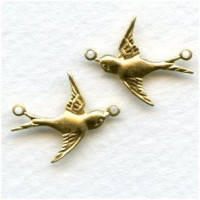 Flying Bird Connectors Raw Brass Right and Left (6 sets)
