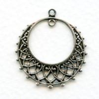 Chandelier Earring Filigree Hoops Oxidized Silver (12)