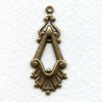 Fancy Pendant Style Drops 37mm Oxidized Brass (12)