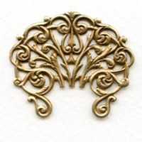 Large Ornate Openwork Stamping Oxidized Brass 43mm