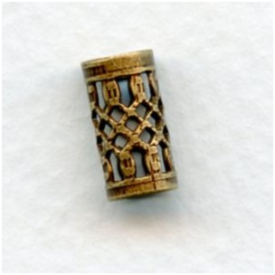 Elegant Filigree Spacer Tubes 13mm Oxidized Brass (6)