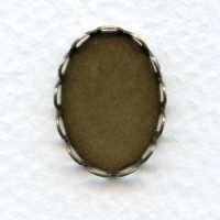Lace Edge Settings 18x13mm Oxidized Brass (12)