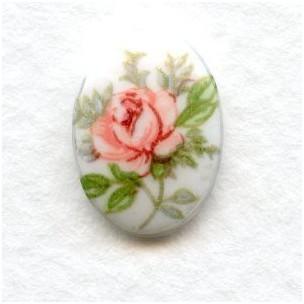 Pink Rosebud Glass Cabochons 14x10mm Victorian Theme