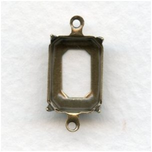 Octagon Connector Settings 14x10mm Oxidized Brass (12)