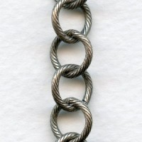 Large 10mm Link Textured Chain Oxidized Silver