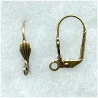 Lever Back Earring Finding with Shell Oxidized Brass (24)