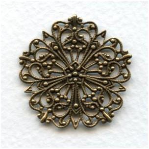 Ornate Round Flat Filigree Oxidized Brass 31mm (3)