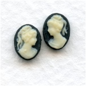 Cameos Girl in a Ponytail Ivory on Black 8x6mm