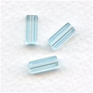 Aquamarine Czech Glass Hex Tube Beads 10x4mm (50)