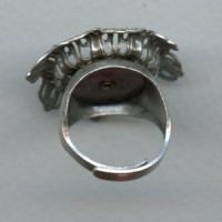 Adjustable Ring with Filigree Flower Setting Oxidized Silver (1)