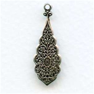 Embossed Pendants for Earrings 30mm Oxidized Silver (6)
