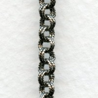 Double Cable Chain Antique Silver Plated Brass (3 ft)