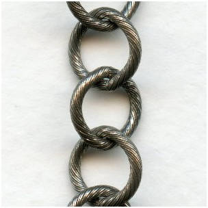 Large 10mm Link Textured Chain Antique Silver