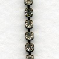 Swarovski Crystals Set in Oxidized Brass B Chain 18pp (1 Ft)