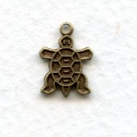 Tiny Turtle Charms Oxidized Brass (6)