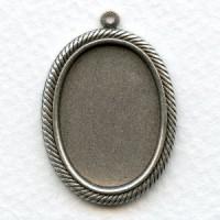 Rope Edge Settings 25x18mm Oxidized Silver (6)