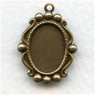 Ornate Pendant 14x10mm Settings Oxidized Brass (12)