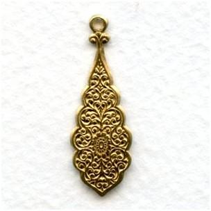 Embossed Pendants for Earrings 30mm Raw Brass (6)