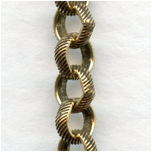 Rolo Chain Textured 5mm Links Antique Gold Plated Steel (3 ft)