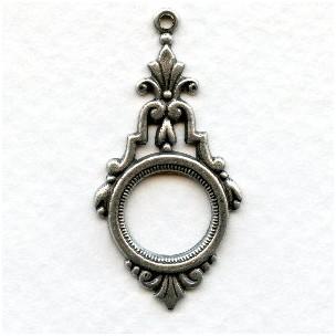 *Elegant Art Deco Pendant Drops Oxidized Silver (6)