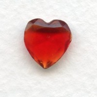 Ruby Glass Heart-Shape Stones Unfoiled 12x11mm