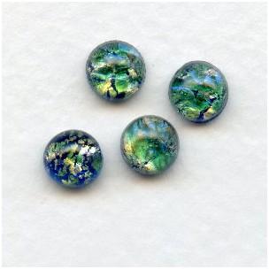 Green Opal Glass Cabochons Handmade 7mm (4)