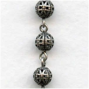Filigree 6mm Bead Linked Chain Oxidized Silver (1 Ft)