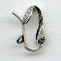 Pierced Look Clip Earring Findings with Loop Oxidized Silver (24)