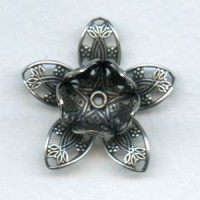 Double Flower Filigree Shapes Oxidized Silver 26mm (1)